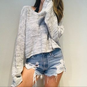 Hollister gray marbled bell sleeve sweater